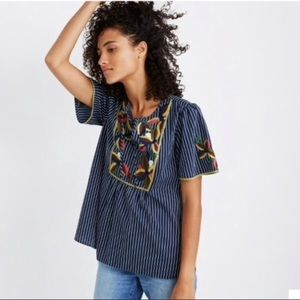 madewell embroidered blue fable top